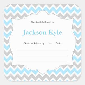Blue Chevron Book baby shower Bookplate label