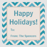 Blue Chevron Christmas Holiday Gift Tag Stickers