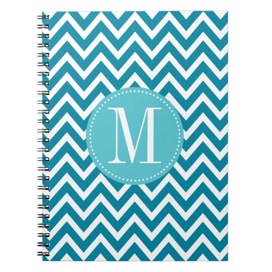 Blue Chevron Custom Monogram Spiral Notebook