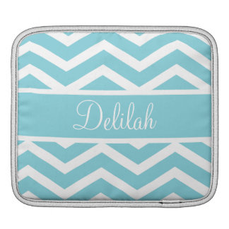 Blue Chevron Custom Name iPad Sleeve