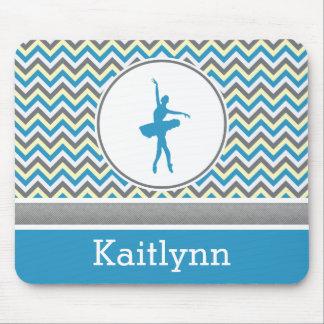 Blue Chevron Dancer Personalized Mouse Pad