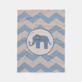 Blue Chevron Elephant Blanket