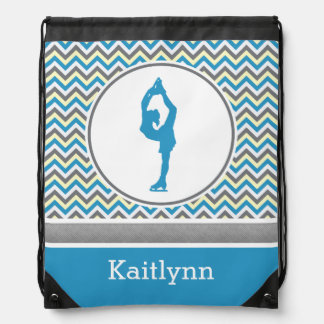 Blue Chevron Figure Skater Personalized Backpack