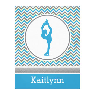 Blue Chevron Figure Skater Personalized Canvas Stretched Canvas Print