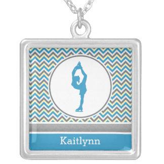 Blue Chevron Figure Skater Square Necklace
