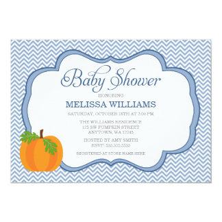 Blue Chevron Frame Pumpkin Fall Baby Shower Card