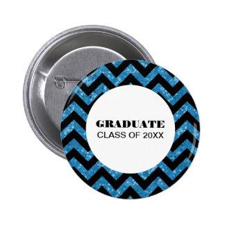 Blue Chevron Glitter Graduation Button