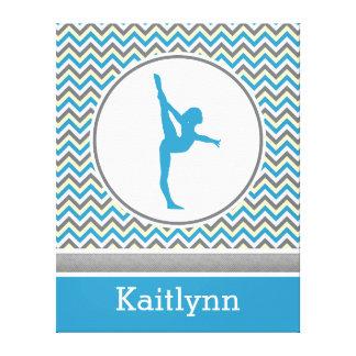 Blue Chevron Gymnast Personalized Canvas Canvas Print