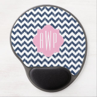 Blue Chevron Ikat Monogrammed Gel Mousepad