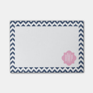 Blue Chevron Ikat Monogrammed Post It Notes Post-it® Notes