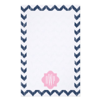 Blue Chevron Ikat Monogrammed Stationery Paper