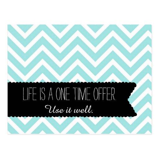 Blue Chevron LIFE Quote - Motivational - Postcard