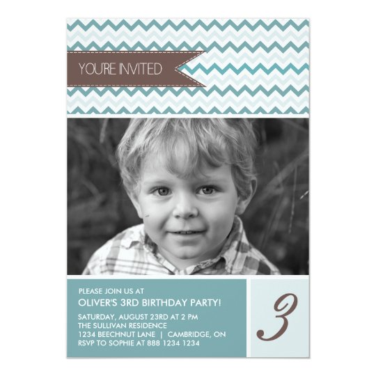 Blue Chevron Mod Photo Birthday Party Invitation