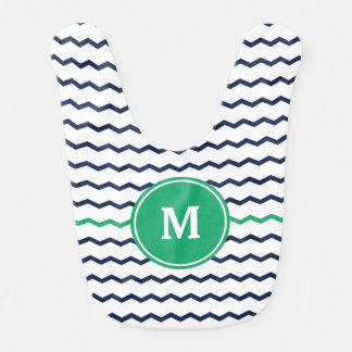 Blue Chevron Monogram Bib