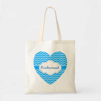 Blue Chevron Monograms Heart with Ribbon A06D Tote Bag
