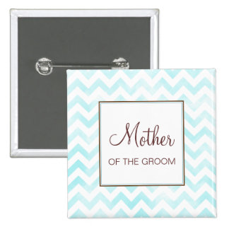 Blue Chevron Mother of the Groom Button