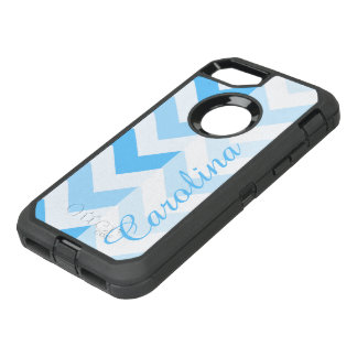 Blue Chevron Name Template OtterBox Defender iPhone 8/7 Case