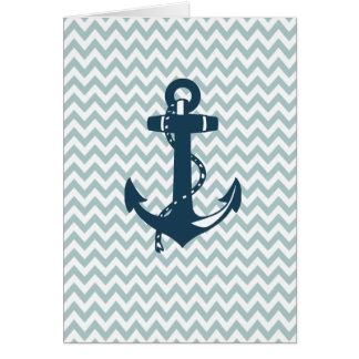 Blue Chevron Nautical Anchor Card