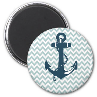 Blue Chevron Nautical Anchor Magnet