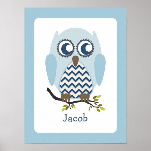 Blue + Chevron Owl Personalised Nursery Artwork Poster