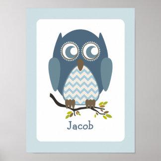 Blue Chevron Owl Personalized Nursery Artwork Poster