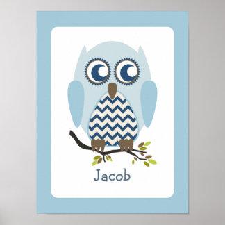 Blue + Chevron Owl Personalized Nursery Artwork Poster