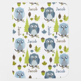 Blue Chevron Owls Personalized Blanket Buggy Blanket