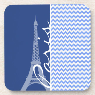 Blue Chevron; Paris Beverage Coaster