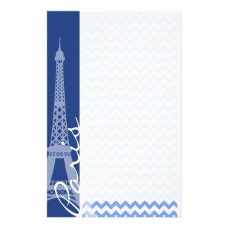 Blue Chevron; Paris Stationery