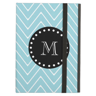 Blue Chevron Pattern | Black Monogram Cover For iPad Air