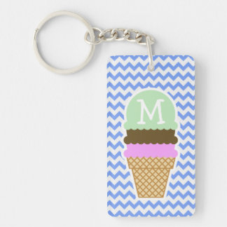 Blue Chevron Pattern; Ice Cream Cone Double-Sided Rectangular Acrylic Key Ring