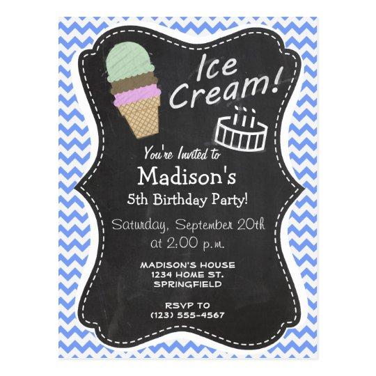 Blue Chevron Pattern; Ice Cream Cone Postcard