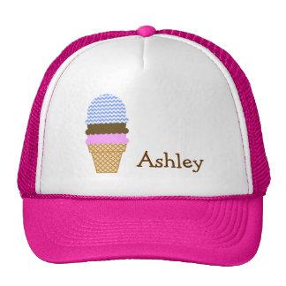 Blue Chevron Pattern Ice Cream Cone Trucker Hat