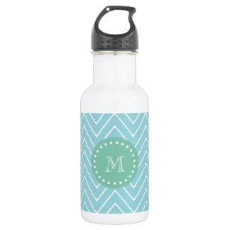 Blue Chevron Pattern | Mint Green Monogram 532 Ml Water Bottle