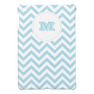 Blue Chevron Pattern Monogram Personalized iPad Mini Case