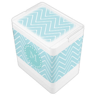 Blue Chevron Pattern | Teal Monogram Igloo Cool Box