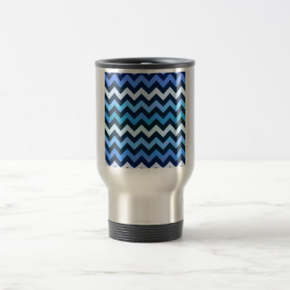 Blue Chevron Pattern Travel Mug
