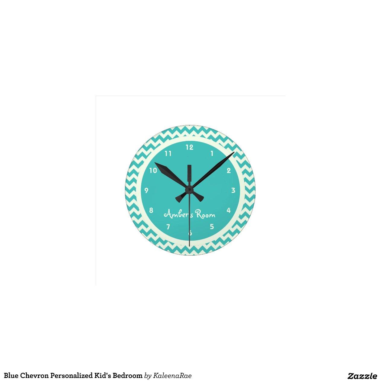 blue chevron personalised kid 39 s bedroom wall clock zazzle