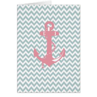 Blue Chevron Pink Nautical Anchor Card