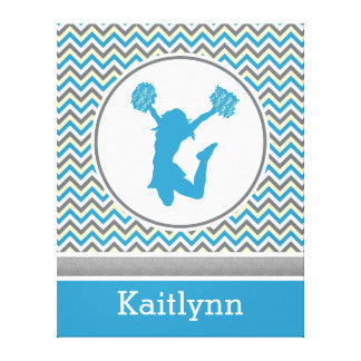 Blue Chevron Pom or Cheer Personalized Canvas Canvas Prints