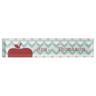 Blue Chevron Red Apple Teacher Nameplate