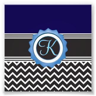 Blue Chevron Sapphire Black Monogram Photo Print