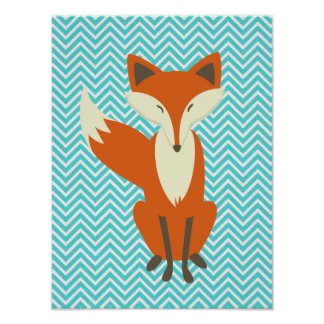 Blue Chevron Sly Fox Nursery Art Poster