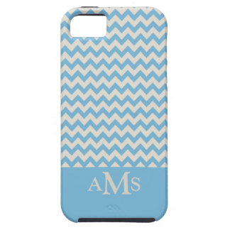 Blue Chevron Stripe 3  Monogram iPhone 5 Case