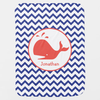 Blue Chevron + Whale Personalized Baby Blanket