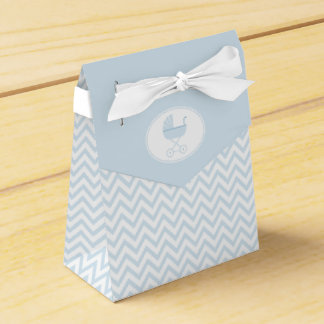 Blue Chevron with Baby Carriage Shower Favour Boxes