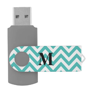 Blue Chevron with Monogram USB Flash Drive