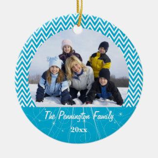 Blue chevron zigzag christmas photo ornament