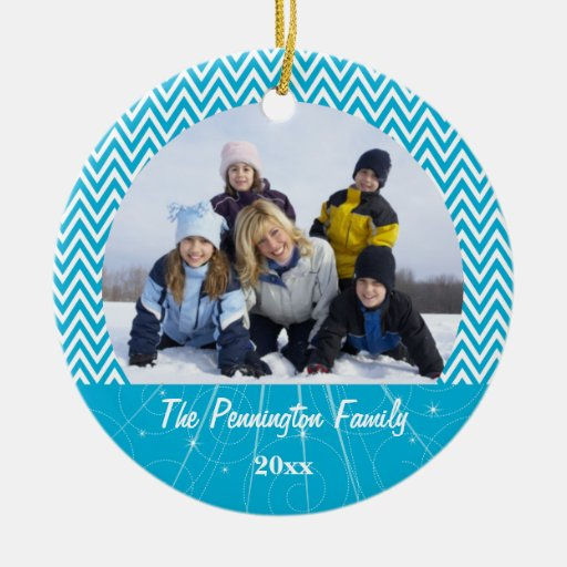 Blue chevron zigzag christmas photo ornament