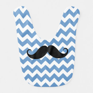 Blue Chevron Zigzag Mustache Bib